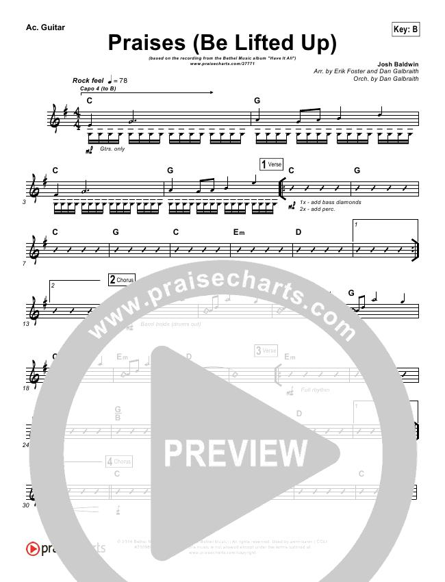 Praises (Be Lifted Up) Rhythm Chart (Bethel Music / Josh Baldwin)