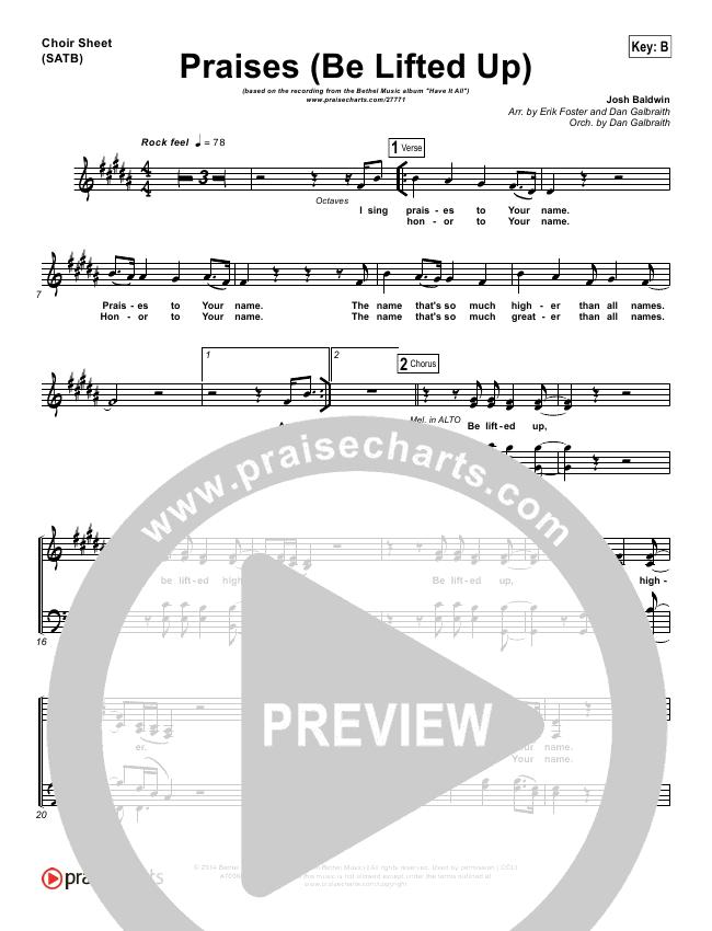 Praises (Be Lifted Up) Choir Sheet (SATB) (Bethel Music / Josh Baldwin)