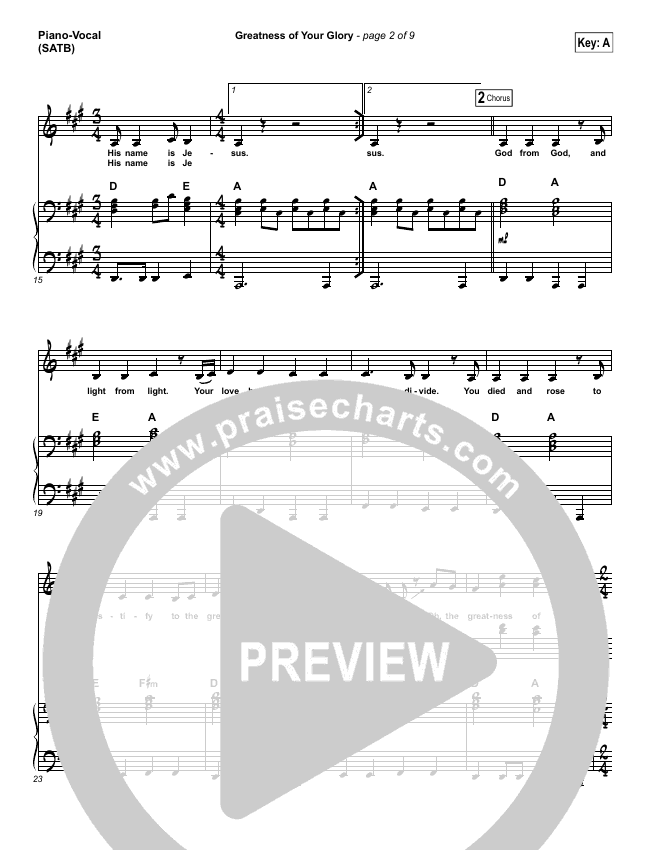 Greatness Of Your Glory Piano/Vocal (SATB) (Bethel Music / Brian Johnson)
