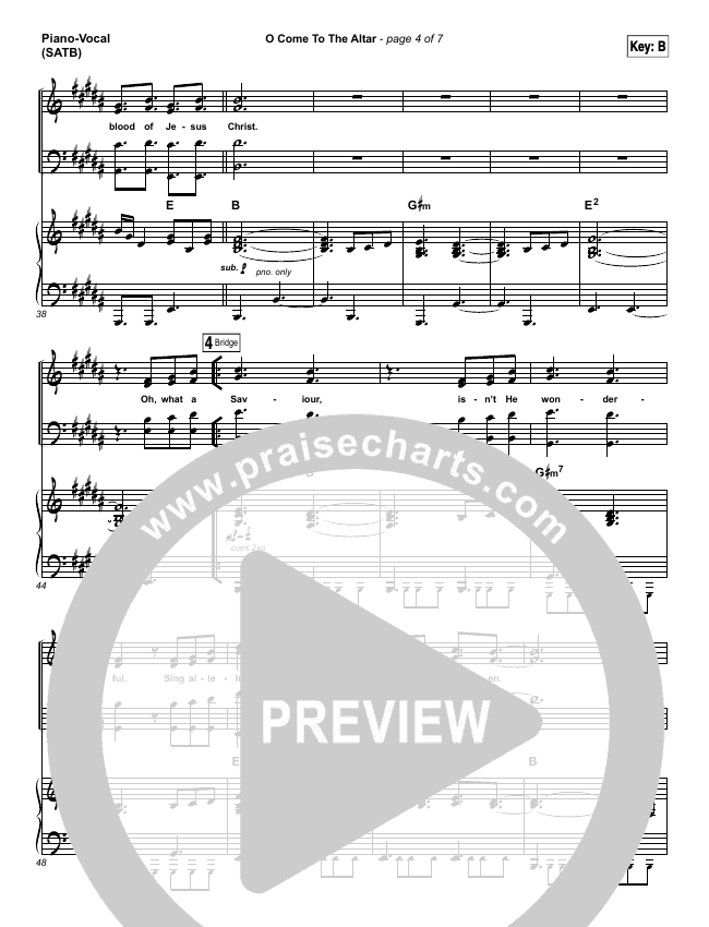 O Come To The Altar Lead Sheet Pianovocal Elevation Worship