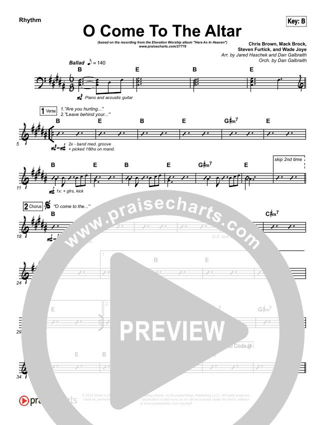 O Come To The Altar Rhythm Chart (Elevation Worship)