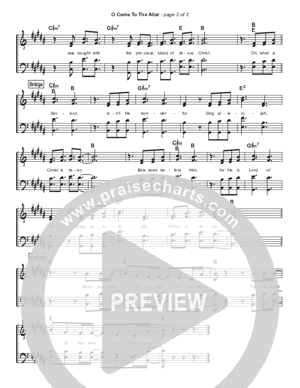 O Come To The Altar Hymn Sheet (Elevation Worship)