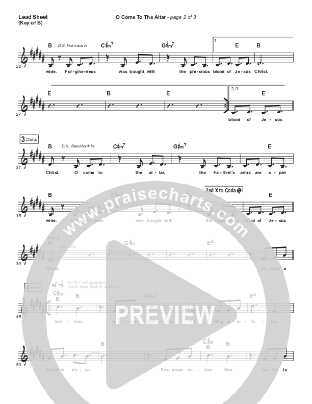 O Come To The Altar Lead Sheet (Melody) (Elevation Worship)