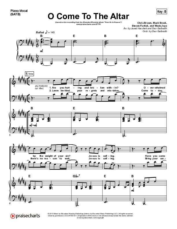 O Come To The Altar Piano/Vocal (SATB) (Elevation Worship)