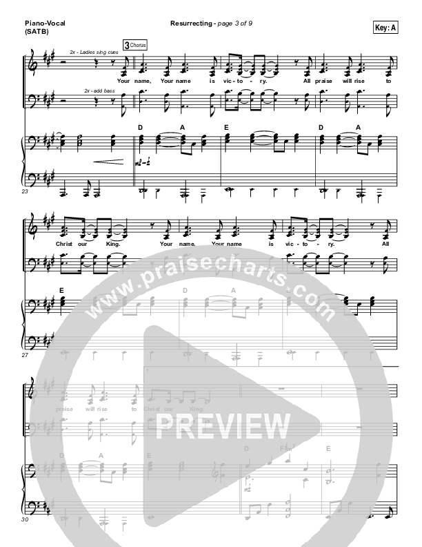 Resurrecting (Live) Piano/Vocal (SATB) (Elevation Worship)