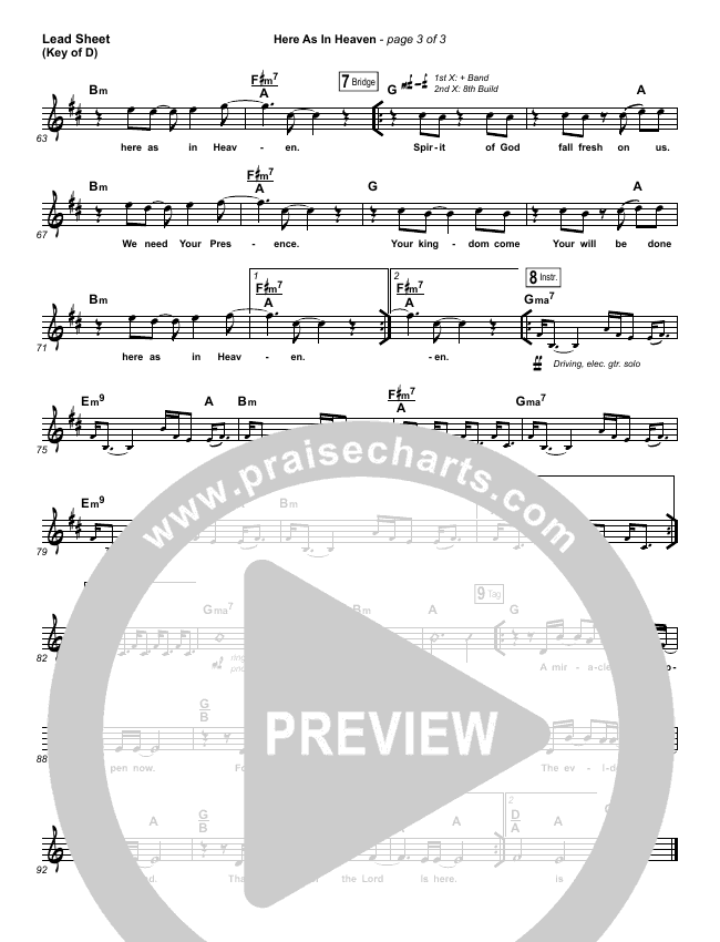 Here As In Heaven Lead Sheet (Melody) (Elevation Worship)