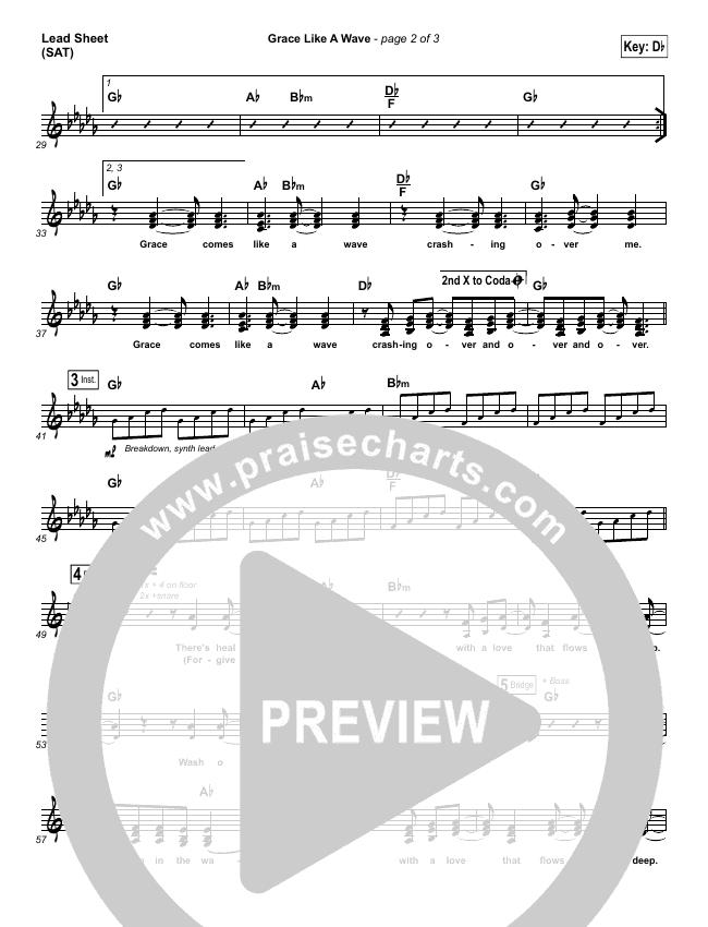Grace Like A Wave Lead Sheet (SAT) (Elevation Worship)
