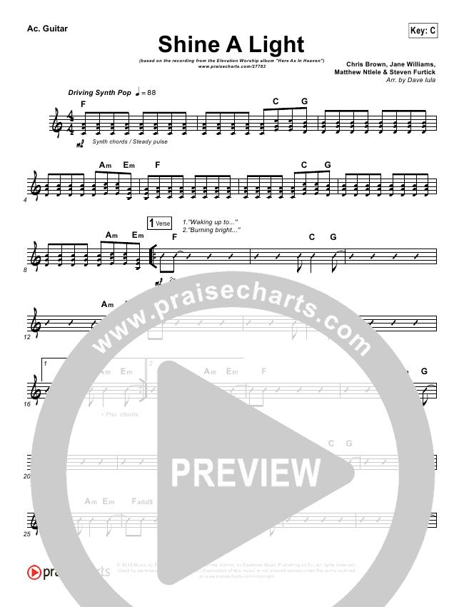 Shine A Light Rhythm Chart - Elevation Worship | PraiseCharts