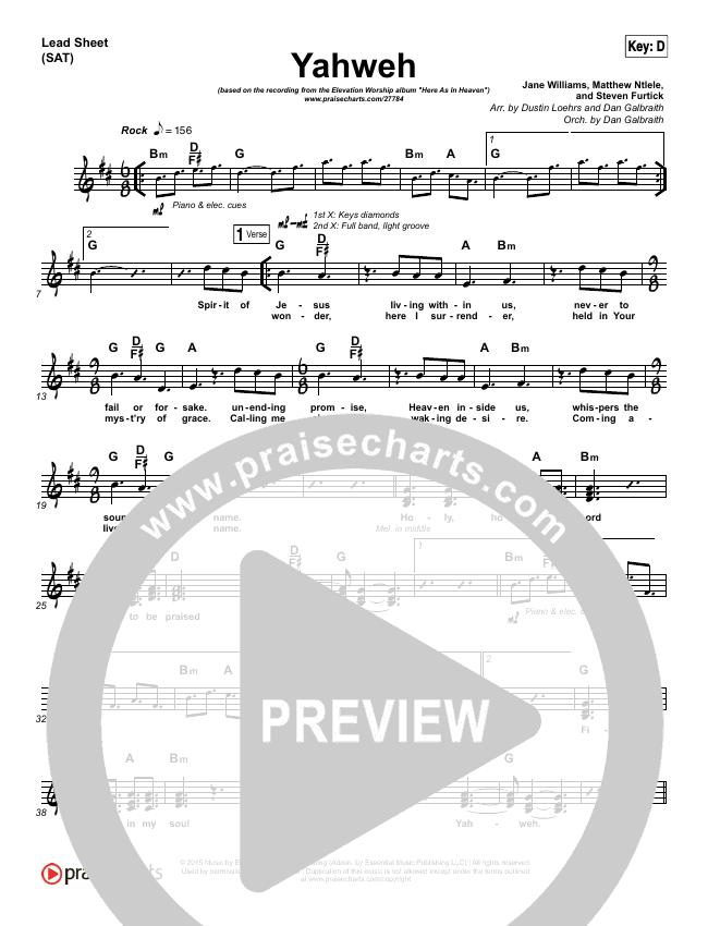 Yahweh Lead Sheet (SAT) (Elevation Worship)