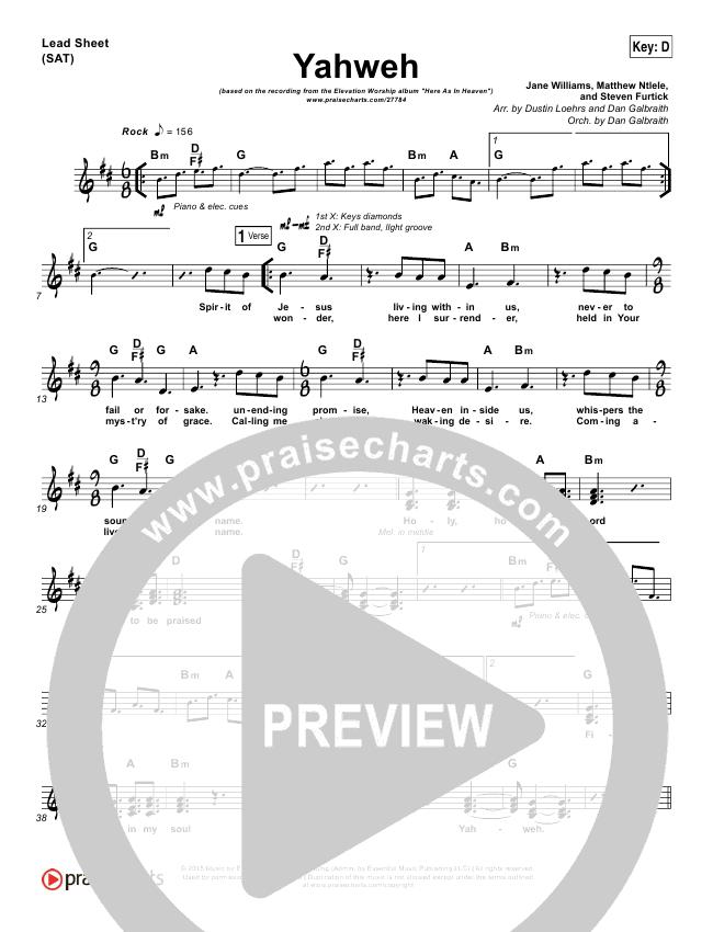 Yahweh Lead Sheet Pianovocal Elevation Worship Praisecharts