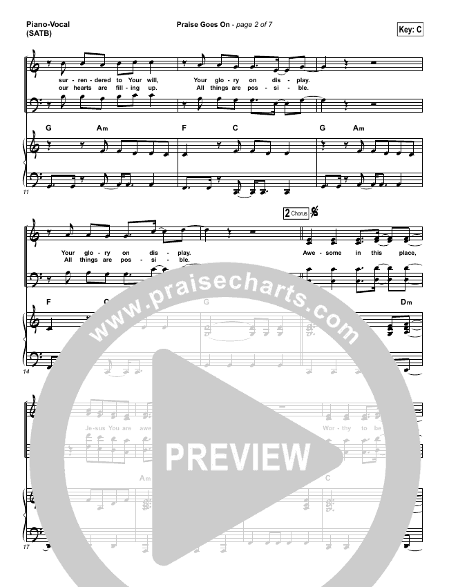 Praise Goes On Piano/Vocal (SATB) (Elevation Worship)