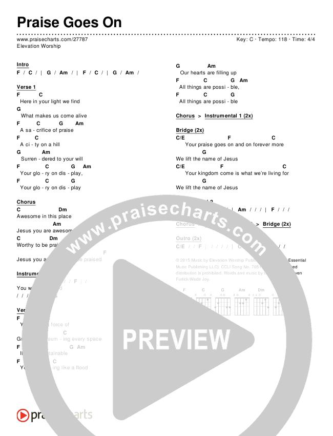 Praise Goes On Chords - Elevation Worship | PraiseCharts