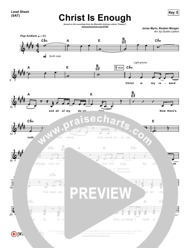 Christ Is Enough Lead Sheet (Meredith Andrews)