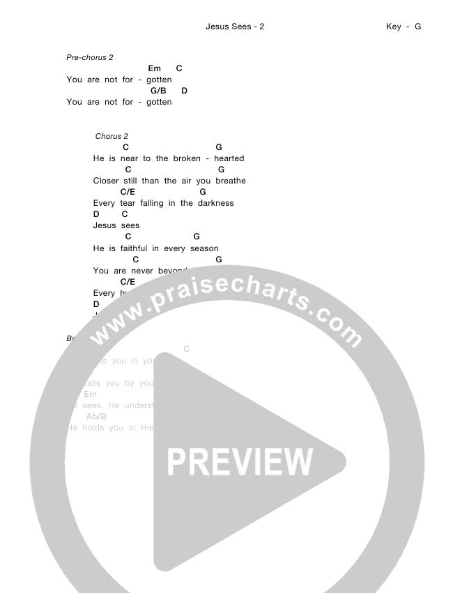 Jesus Sees Chord Chart (Meredith Andrews)