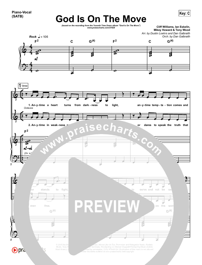 God Is On The Move Piano/Vocal (SATB) (7eventh Time Down)