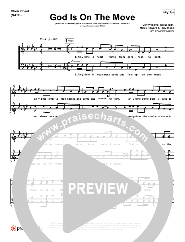 God Is On The Move Choir Sheet (SATB) (7eventh Time Down)