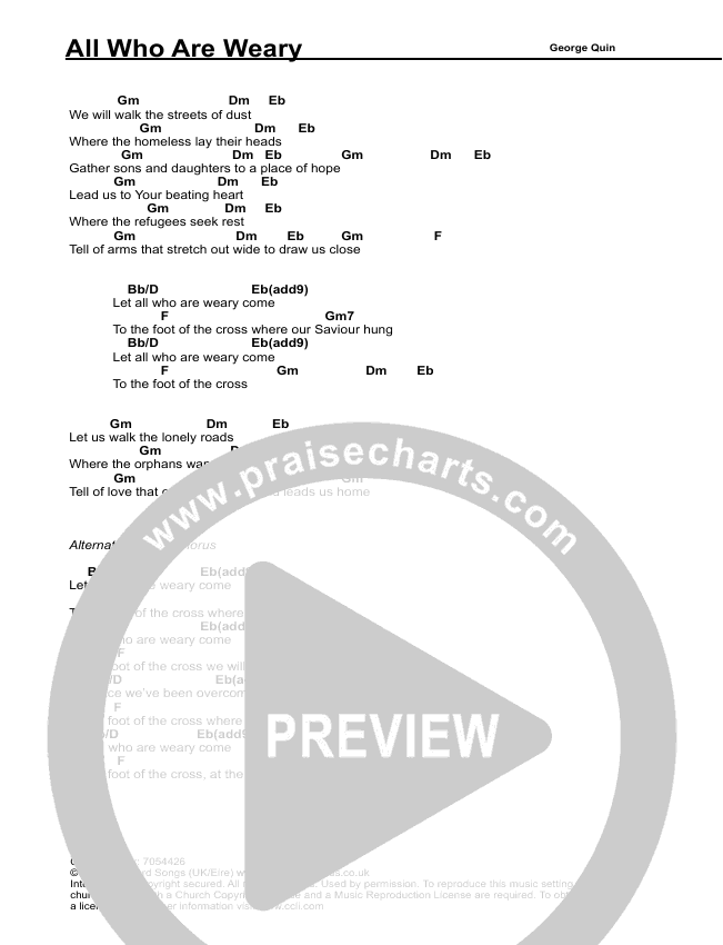 All Who Are Weary Chord Chart (Vineyard UK)