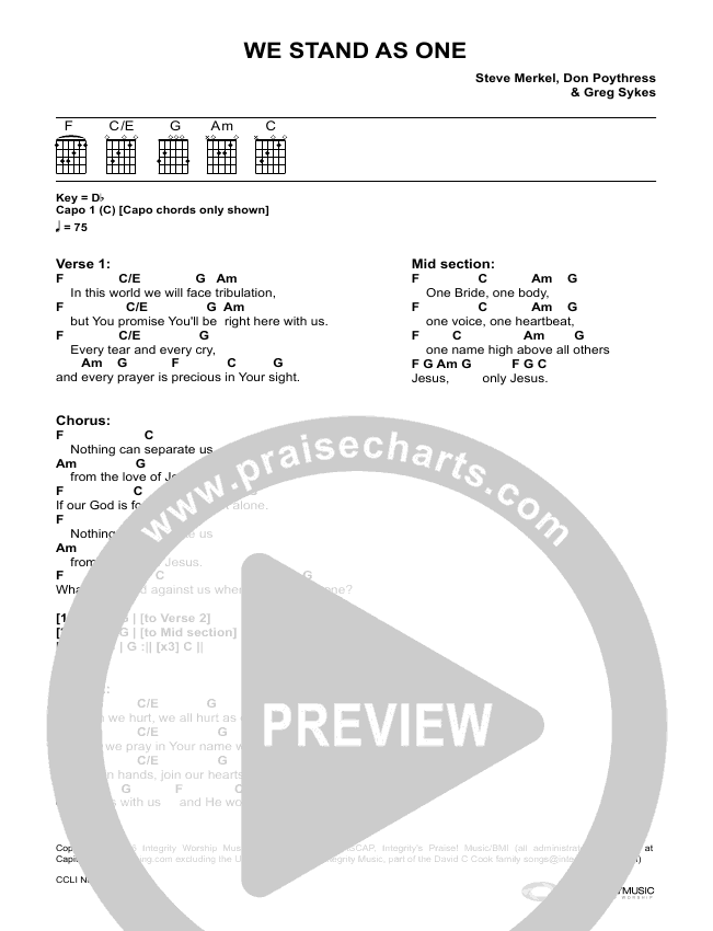 We Stand As One Chords Various Praisecharts