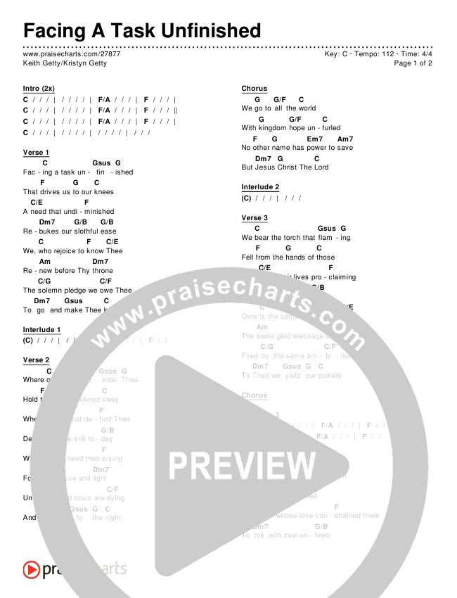 Facing A Task Unfinished (Version 1) Chords & Lyrics (Keith & Kristyn Getty)