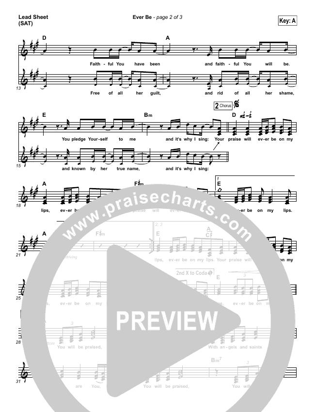 Ever Be Lead Sheet (SAT) (Aaron Shust)