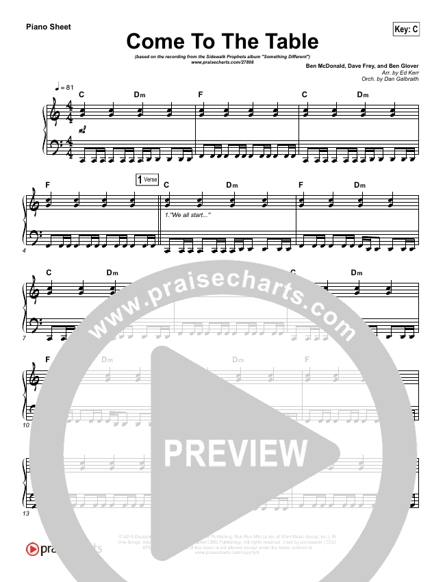 Come To The Table Piano Sheet (Sidewalk Prophets)