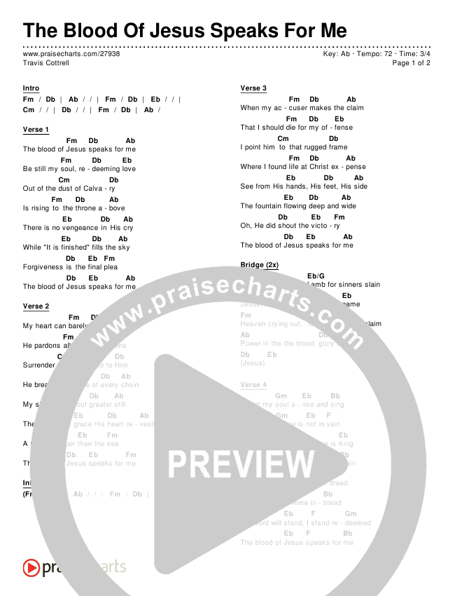 The Blood Of Jesus Speaks For Me Chords - Travis Cottrell   PraiseCharts