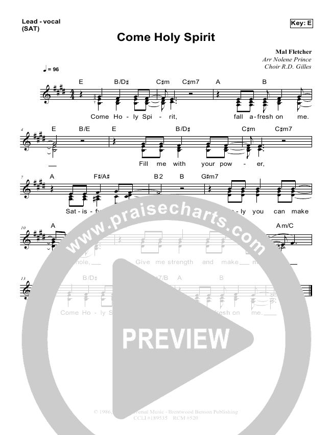 Come Holy Spirit Lead Sheet & Piano/Vocal - Dennis Prince, Nolene ...