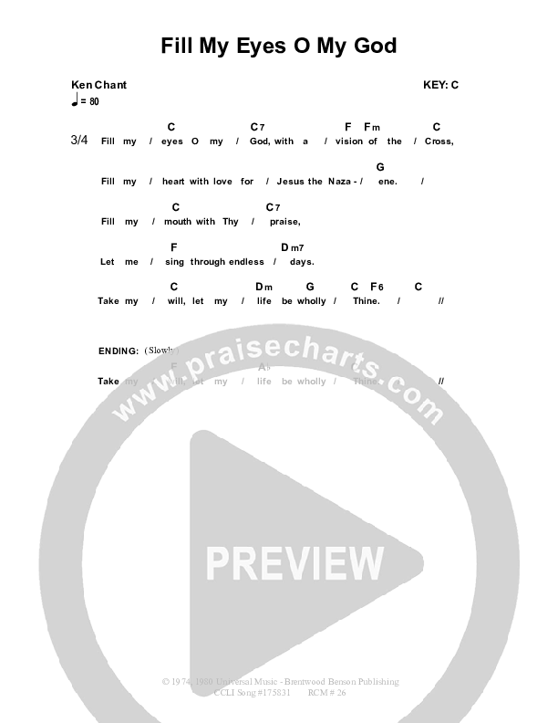 Fill My Eyes O My God Chord Chart (Dennis Prince / Nolene Prince)
