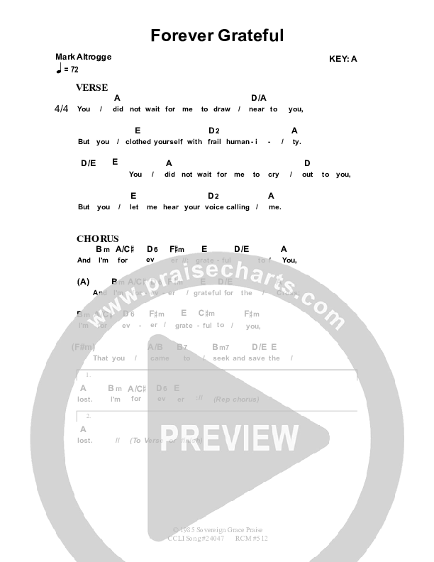 Forever Grateful Chord Chart (Dennis Prince / Nolene Prince)