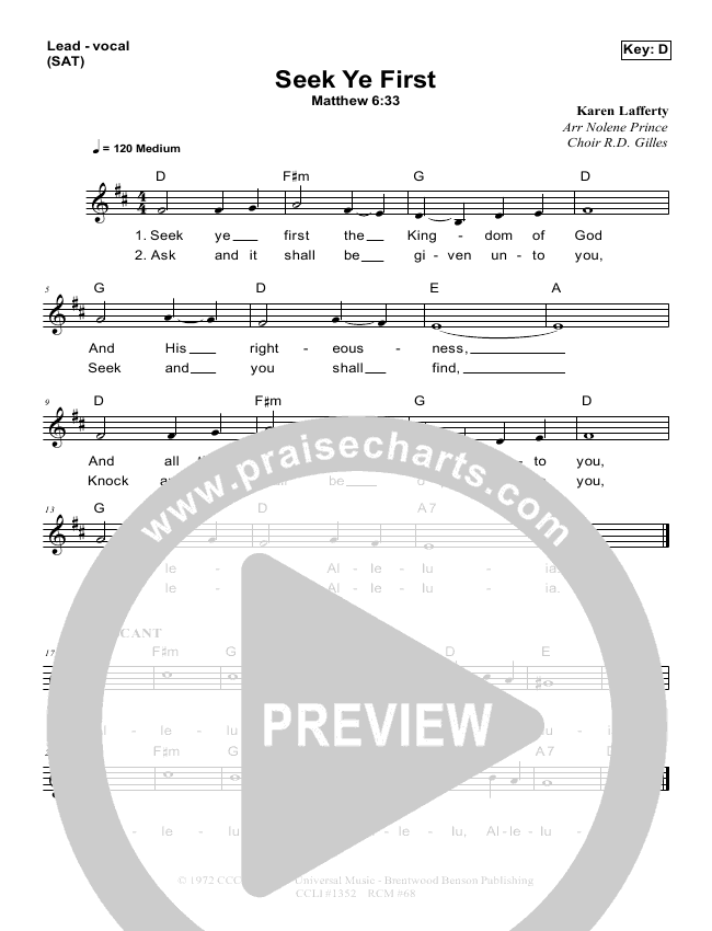 Seek Ye First Lead Sheet Pianovocal Dennis Prince Nolene