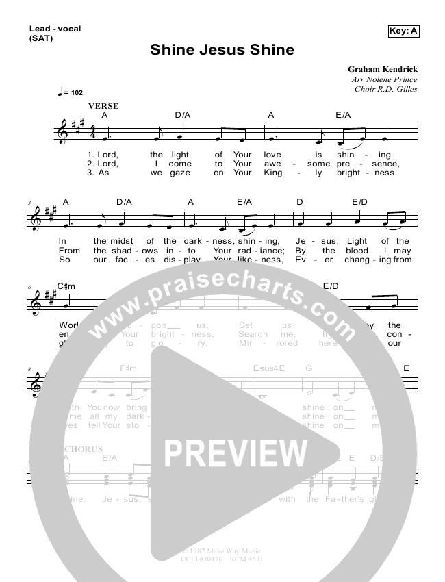 Shine Jesus Shine Lead Sheet & Piano/Vocal - Dennis Prince, Nolene ...