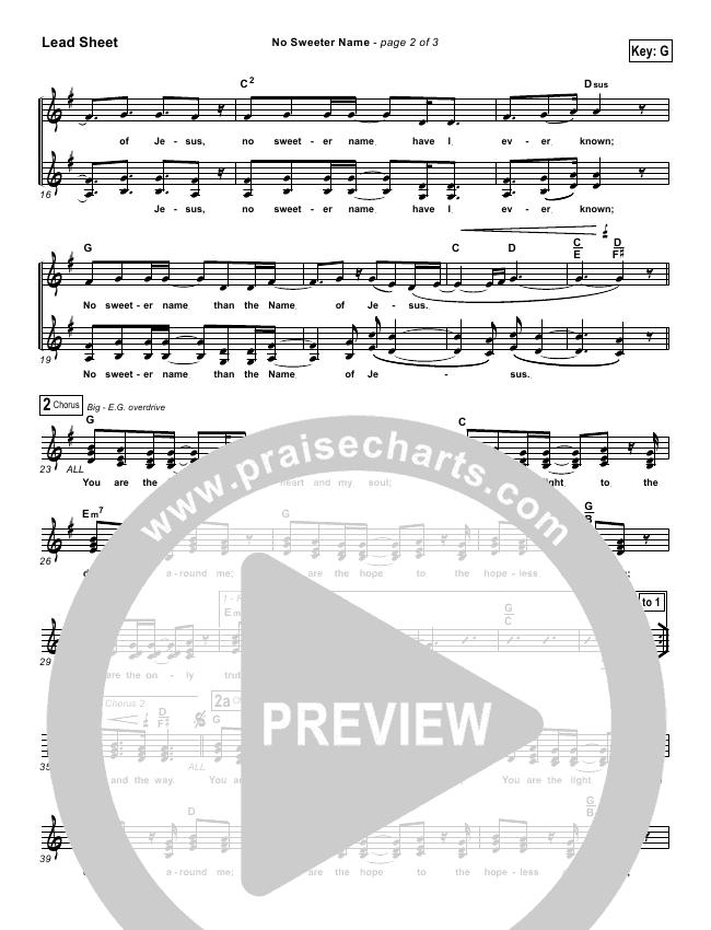 No Sweeter Name Lead Sheet Gateway Worship Kari Jobe Praisecharts