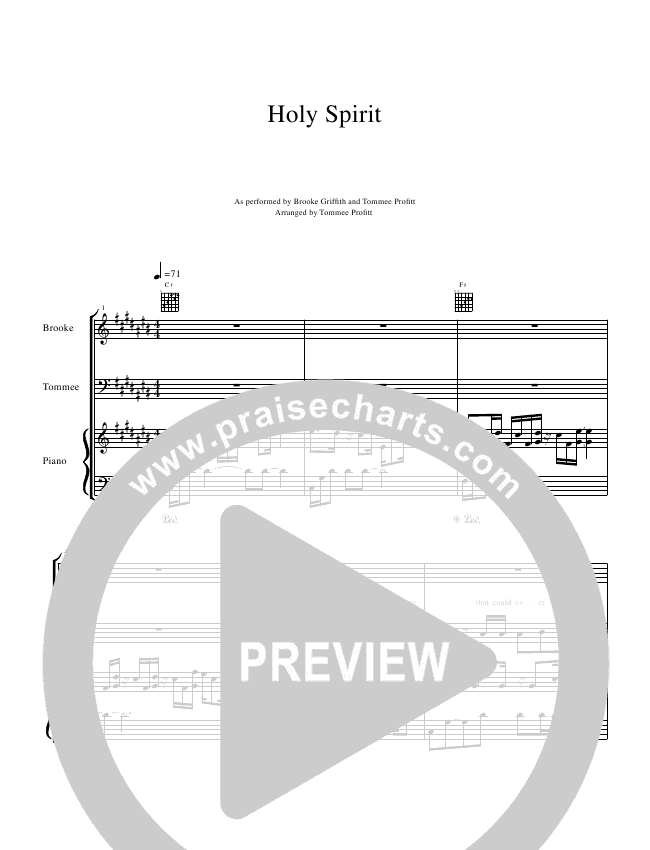 Holy Spirit  Piano/Vocal (Tommee Profitt & Brooke Griffith)