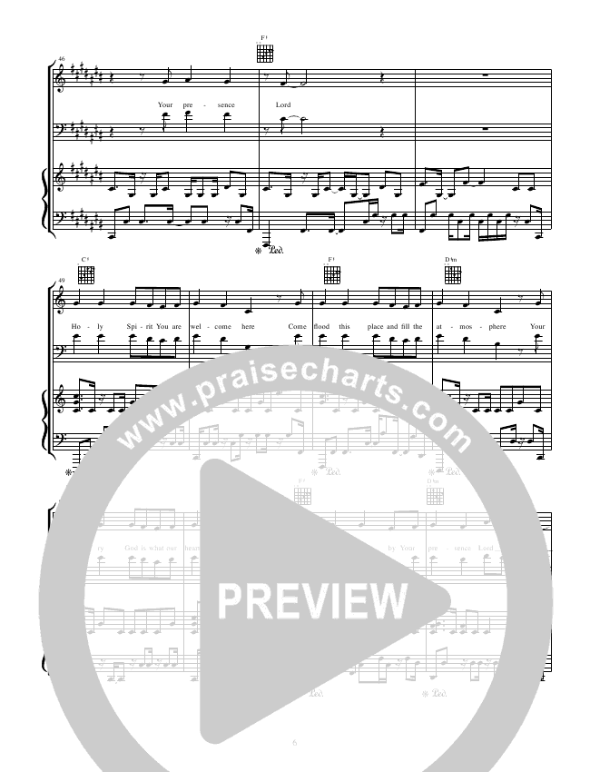 Holy Spirit You Are Welcome Here Piano Sheet Music - Piano Ideas