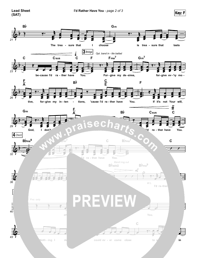 Id Rather Have You Lead Sheet Pianovocal Tommee Profitt