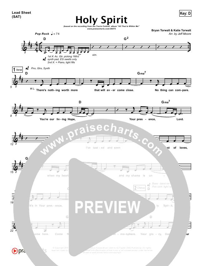 Holy Spirit  Lead Sheet (Travis Cottrell)