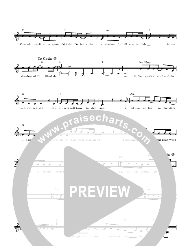The Shadow Of El Shaddai Lead Sheet Pianovocal Paul Wilbur