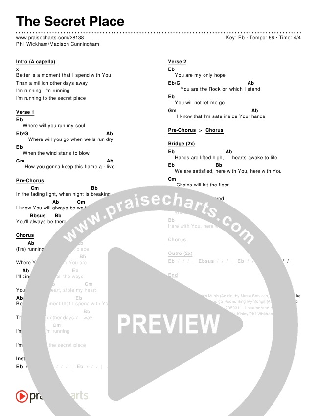 The Secret Place Chords - Phil Wickham, Madison Cunningham ...