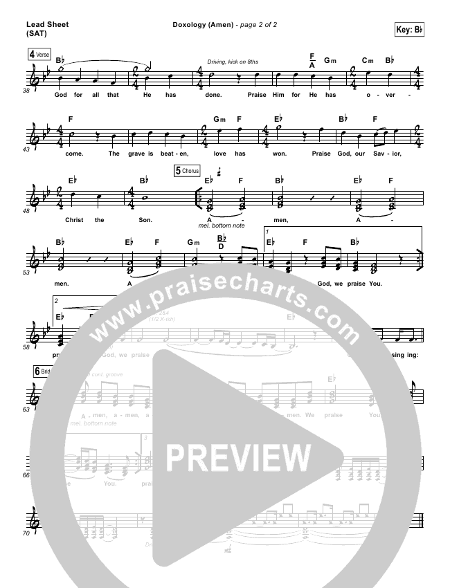 Doxology Amen Lead Sheet Pianovocal Phil Wickham Praisecharts