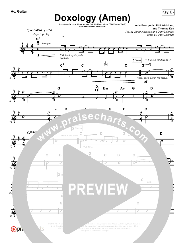 Doxology Amen Rhythm Chart Phil Wickham Praisecharts