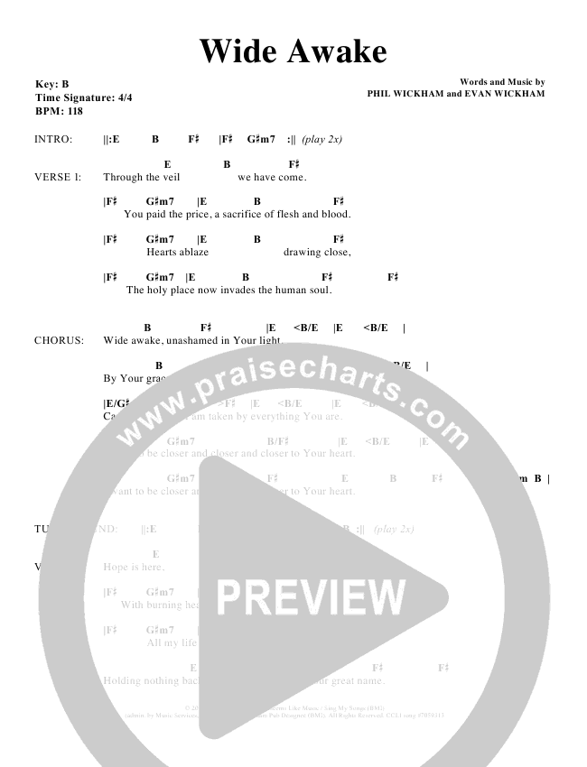Wide Awakechords Phil Wickham Praisecharts