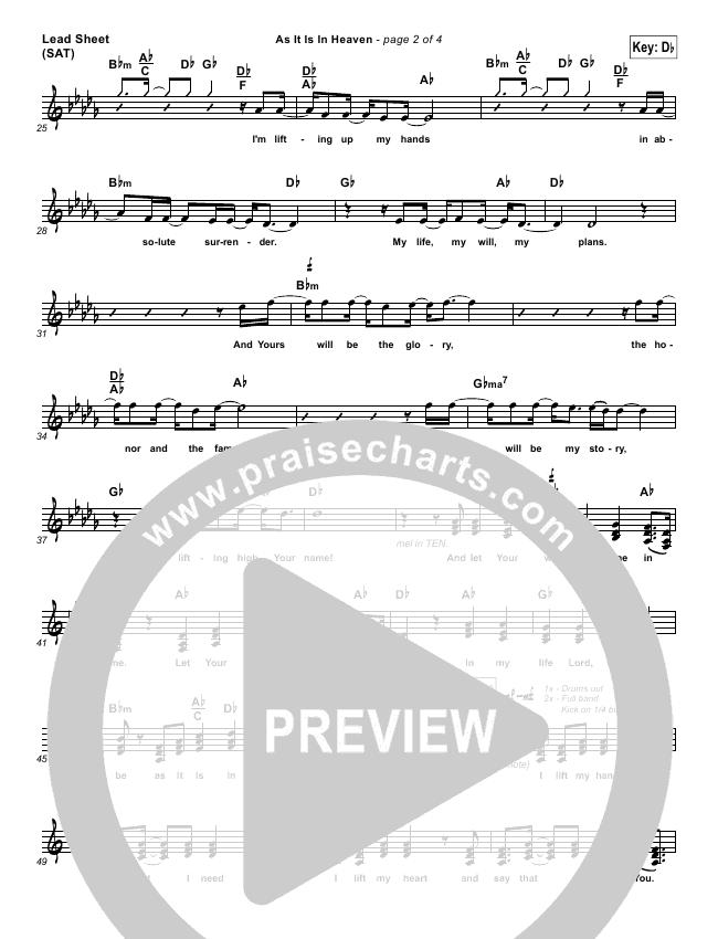 As It Is In Heaven Lead Sheet (Phil Wickham)