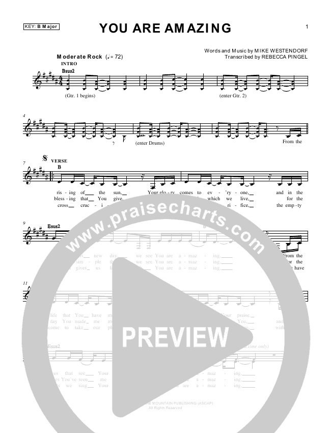 You Are Amazing Lead Sheet (Mike Westendorf)