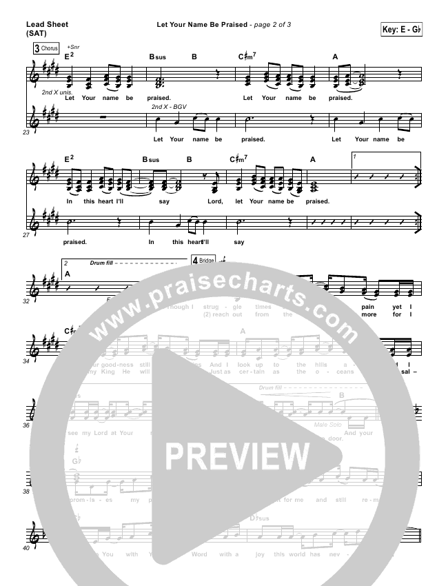 Let Your Name Be Praised Lead Sheet (Tracy Manno)