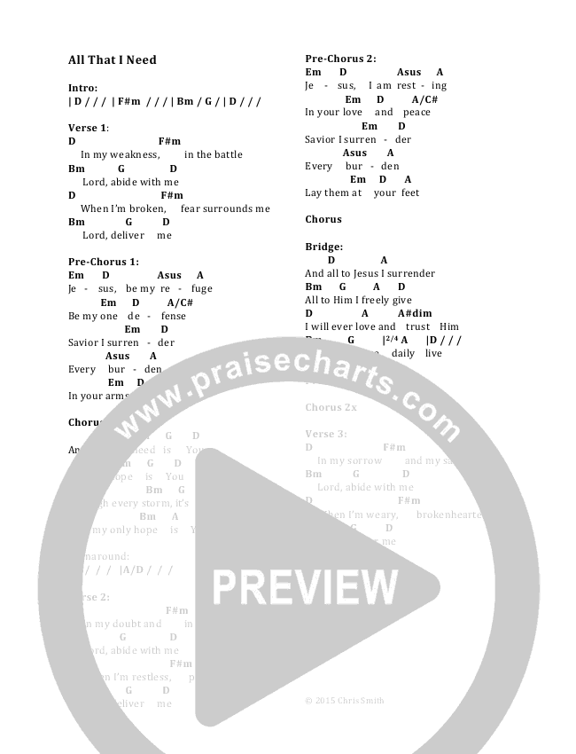 All That I Need Chord Chart (Chris Smith)