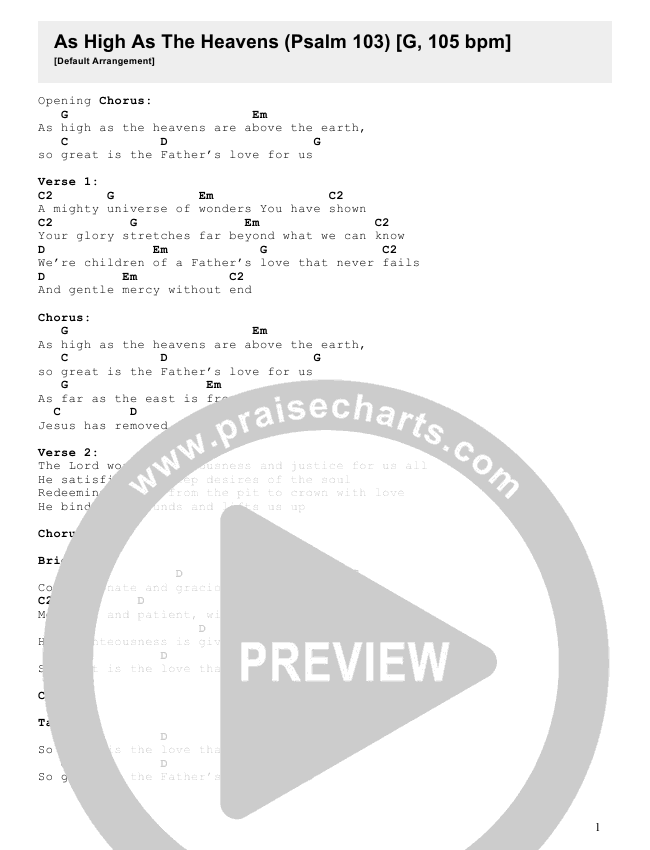 As High As The Heavens (Psalm 103) Chord Chart (Justin Bartlow)