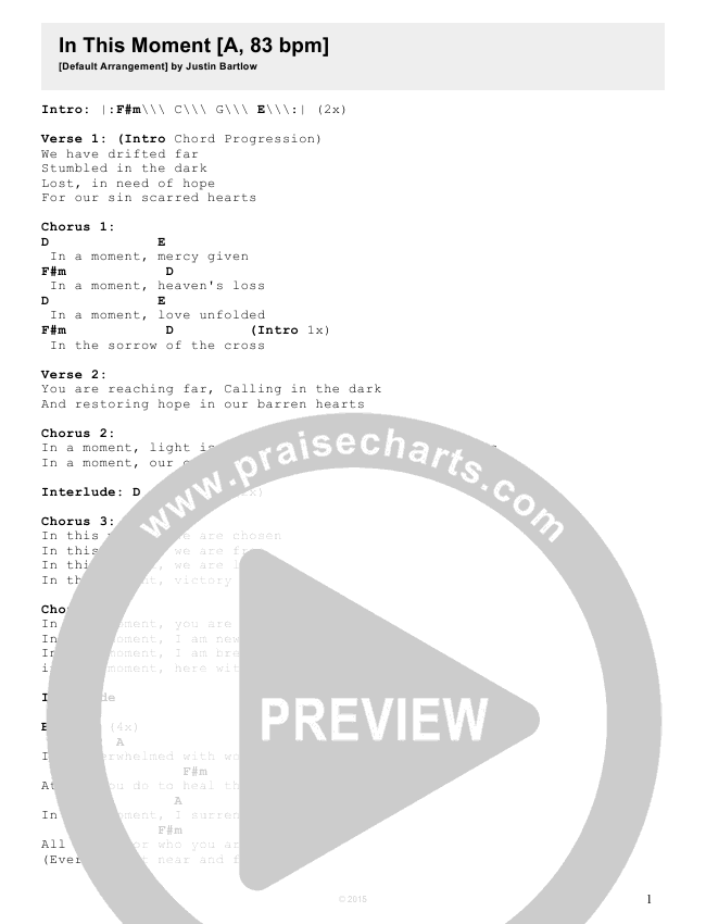 In This Moment Chord Chart (Justin Bartlow)
