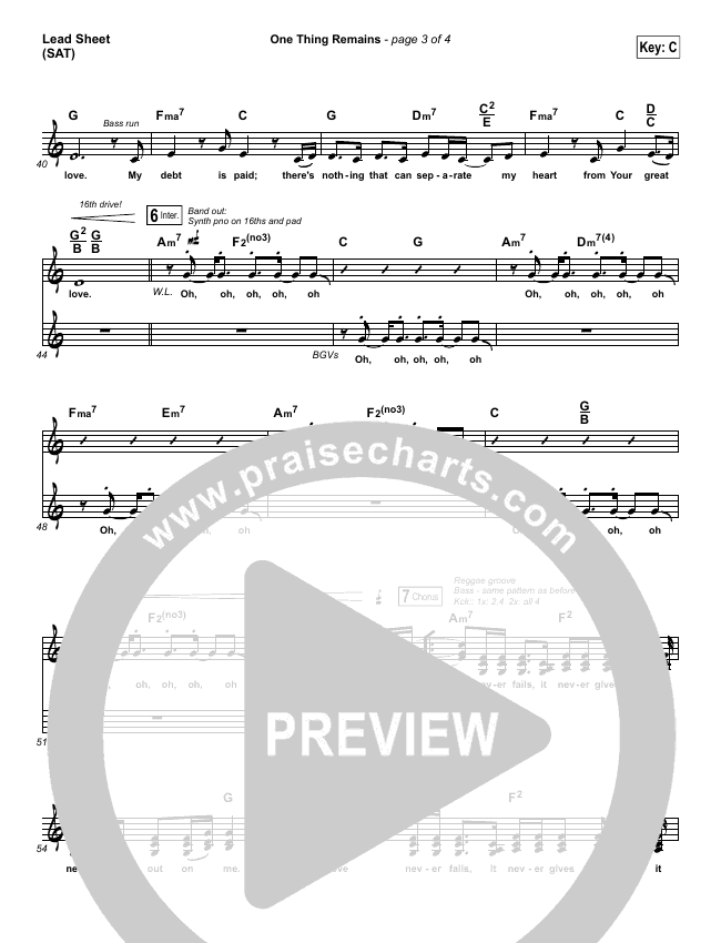 One Thing Remains Lead Sheet (SAT) (Israel Houghton)