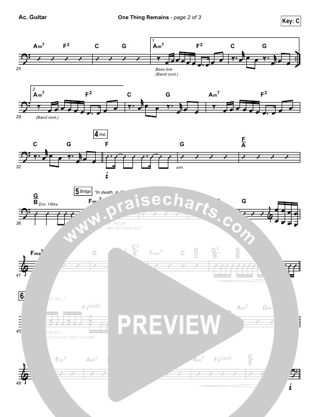 One Thing Remains Rhythm Chart (Israel Houghton)