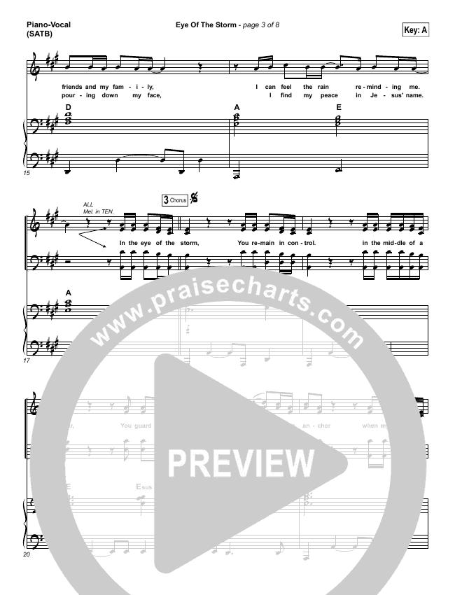 Eye Of The Storm Piano/Vocal (SATB) (Ryan Stevenson)